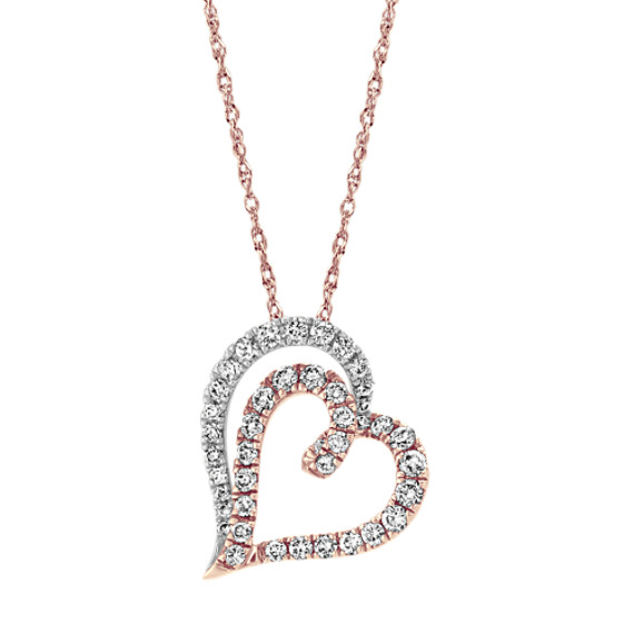 Diamond Heart Pendant in Two-Tone Gold (22 in)