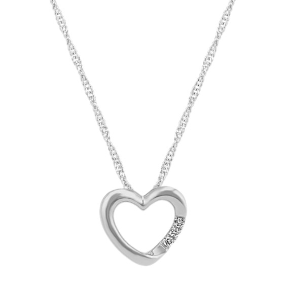 Diamond Heart Pendant in White Gold (20 in)