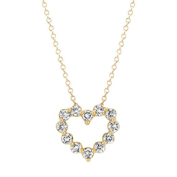 Diamond Heart Pendant in Yellow Gold (18 in)