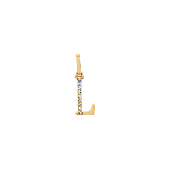 Diamond Letter L Charm in 14k Yellow Gold