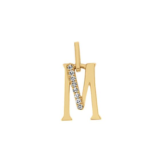 Diamond M Charm in 14k Yellow Gold