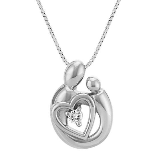 Diamond Mother & Child Heart Pendant in Sterling Silver (18 in)