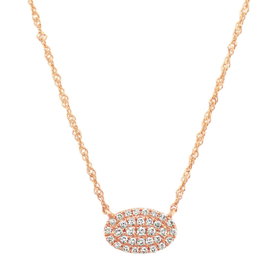Diamond Oval Cluster Necklace in 14k Rose Gold (18 in)