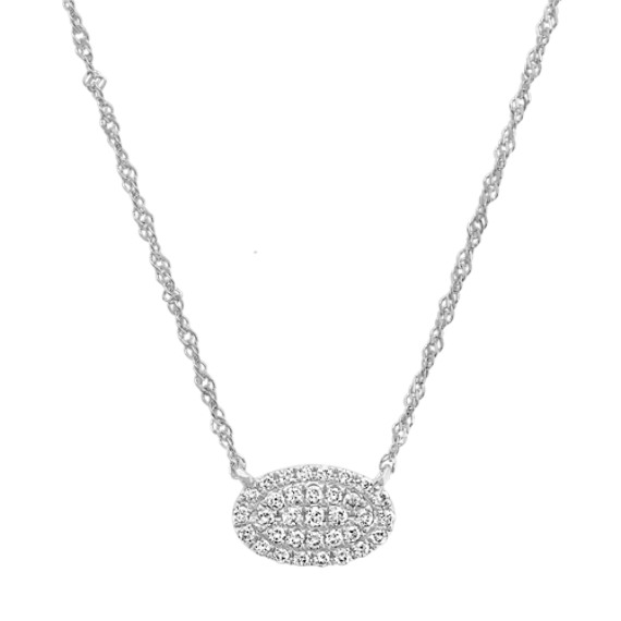 Diamond Oval Cluster Necklace in 14k White Gold (18 in)