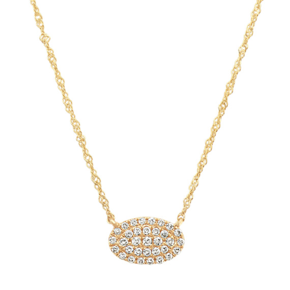 Diamond Oval Cluster Necklace in 14k Yellow Gold (18 in)