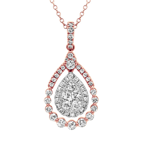 Diamond Pendant in 14k Rose and White Gold (24 in)
