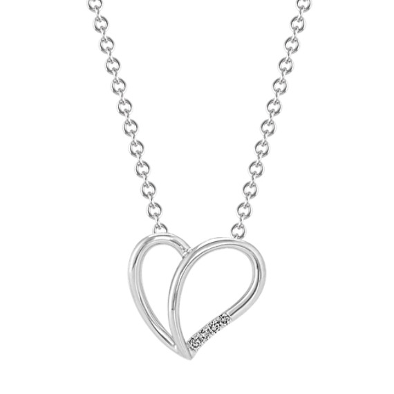 Diamond Split Heart Pendant in White Gold (18 in)