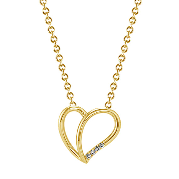 Diamond Split Heart Pendant in Yellow Gold (18 in)