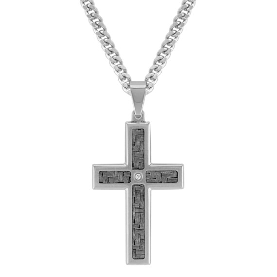 Diamond Stainless Steel with Carbon Fiber Cross Necklace (24 in)