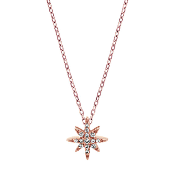Diamond Star Pendant in 14k Rose Gold (24 in)