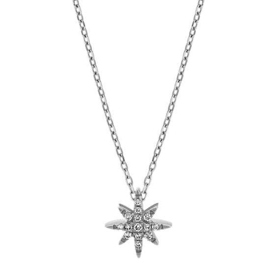 Diamond Star Pendant in 14k White Gold (24 in)