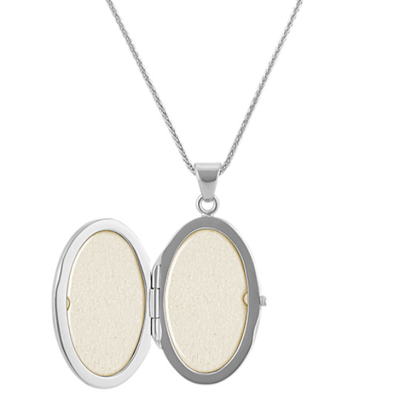 Diamond Starburst Oval Locket in Sterling Silver (30 in) image