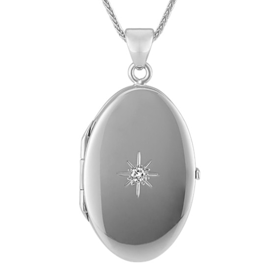 Diamond Starburst Oval Locket in Sterling Silver (30 in)