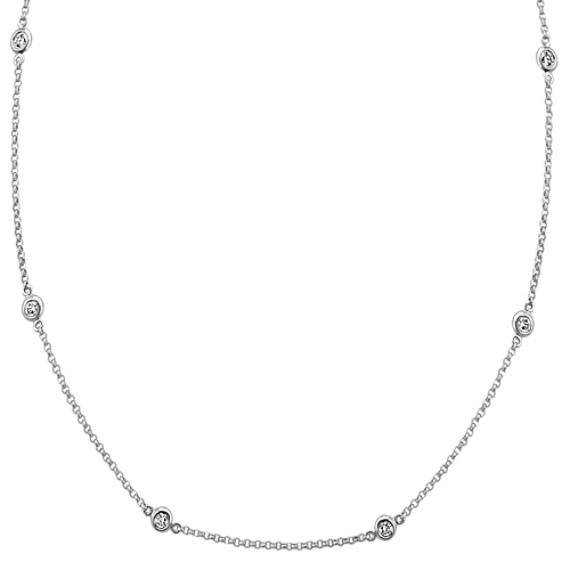 Diamond Station Necklace in 14k White Gold (18 in.)