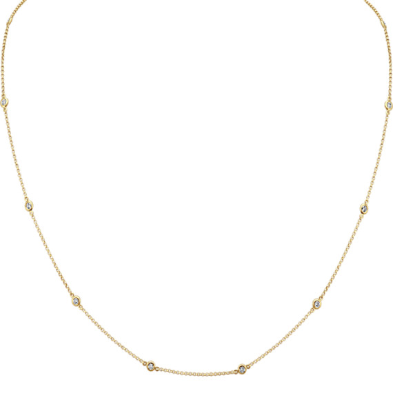 Diamond Station Necklace in 14k Yellow Gold (18 in.)
