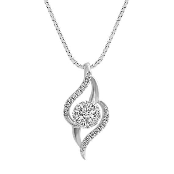 Diamond Swirl and Cluster Pendant (18 in)