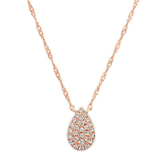 Diamond Teardrop Cluster Necklace in 14k Rose Gold (18 in)