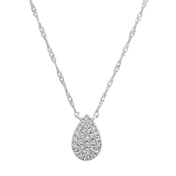 Diamond Teardrop Cluster Necklace in 14k White Gold (18 in)  f878ed0b7