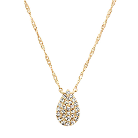 Diamond Teardrop Cluster Necklace in 14k Yellow Gold (18 in)