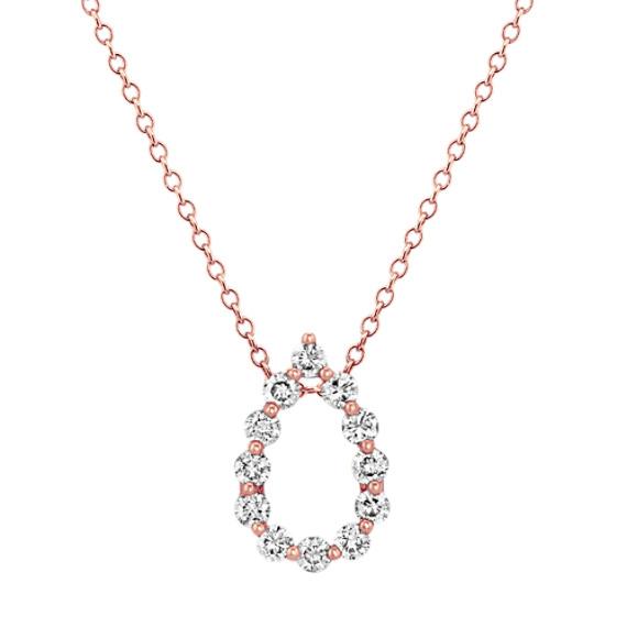 Diamond Teardrop Pendant in 14k Rose Gold (22 in)