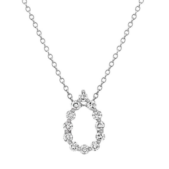 Diamond Teardrop Pendant in 14k White Gold (22 in)