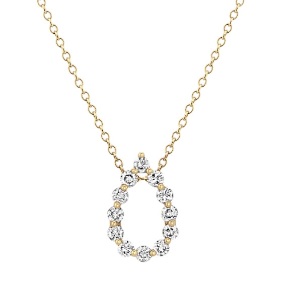 Diamond Teardrop Pendant in 14k Yellow Gold (22 in)