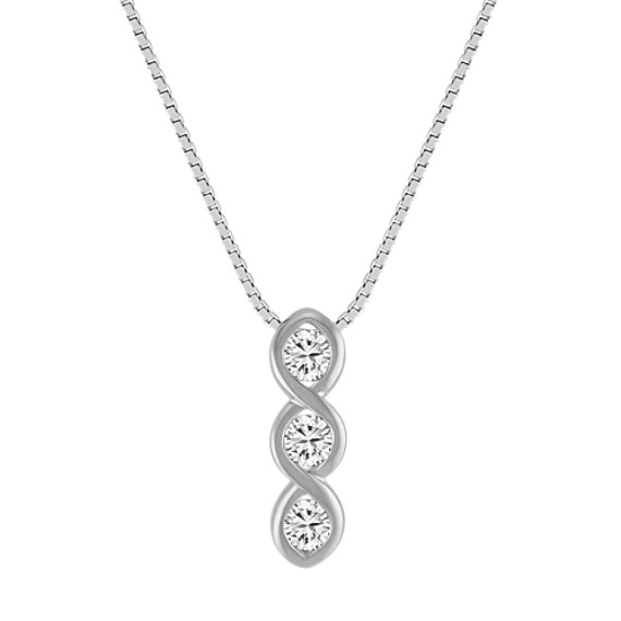 Diamond Three-Stone Pendant with Bezel Setting (18 in)