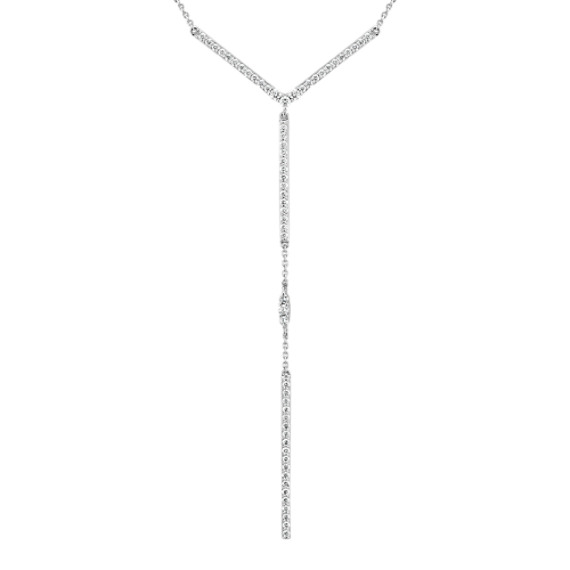Diamond Y Necklace in 14k White Gold (18 in)