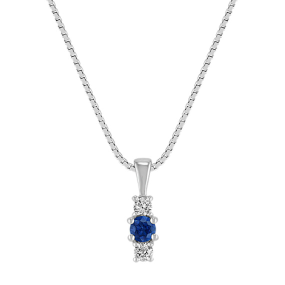Diamond and Sapphire Three-Stone Pendant (18 in)