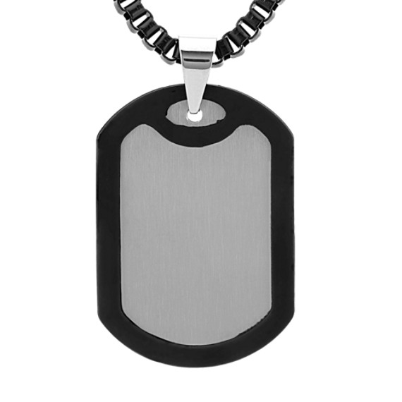 Dog Tag Necklace in Stainless Steel with Black Accent (24 in)