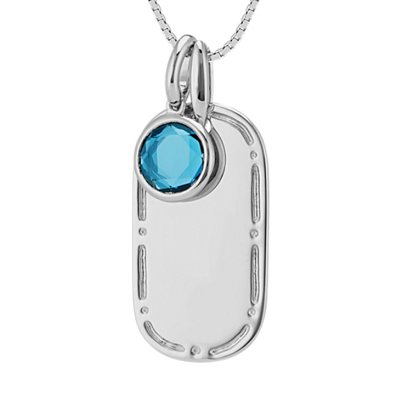 Dog Tag Pendant with London Blue Topaz Accent in Sterling Silver (20 in)