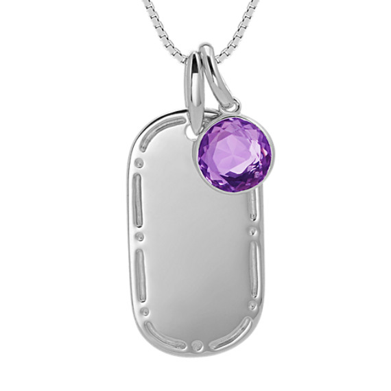 Dog Tag Pendant with Round Amethyst Accent in Sterling Silver (20 in)