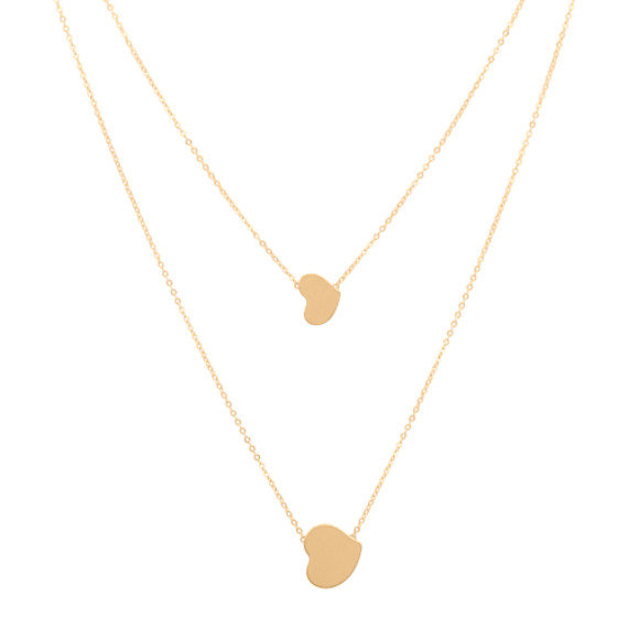 Double Chain Heart Necklace in 14k Yellow Gold (18 in)