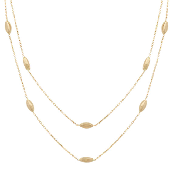 Double Chain Necklace with Stations in 14k Yellow Gold (18 in)