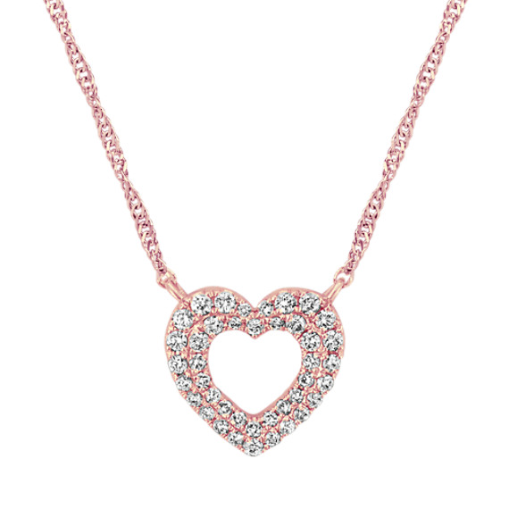 Double Halo Heart Necklace in 14k Rose Gold (18 in)