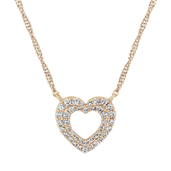 Double Halo Heart Necklace in 14k Yellow Gold (18 in)