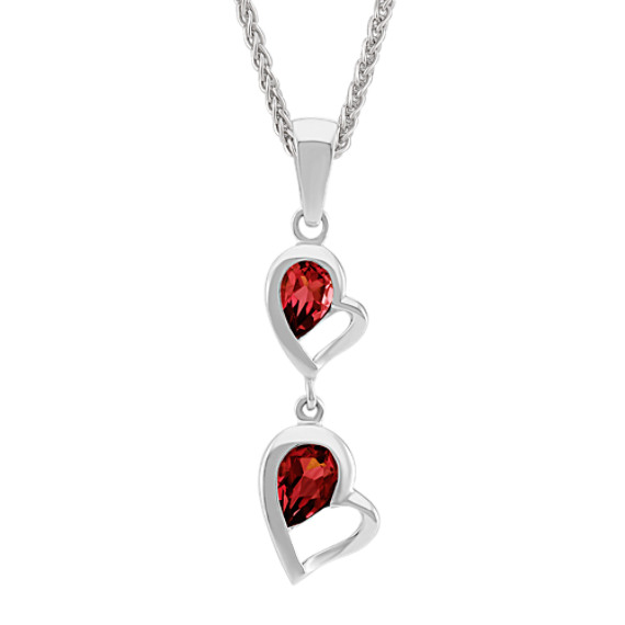 Double-Heart Dangle Pendant with Pear-Shaped Garnet (24 in)
