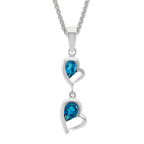 Double-Heart Dangle Pendant with Pear-Shaped London Blue Topaz (24 in)