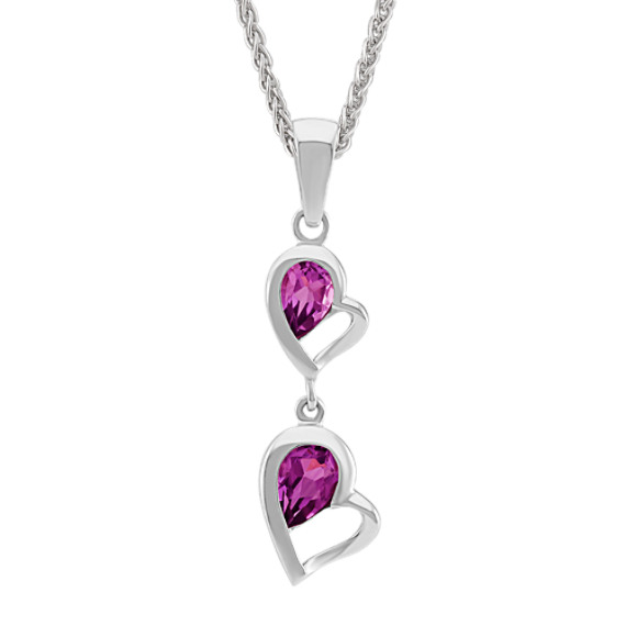 Double-Heart Dangle Pendant with Pear-Shaped Rhodolite Garnet (24 in)