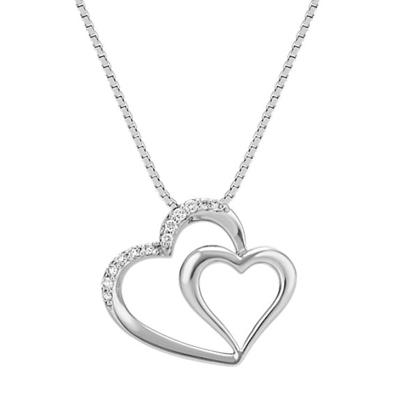 Double Heart Pendant with Round Diamond Accent (18 in)