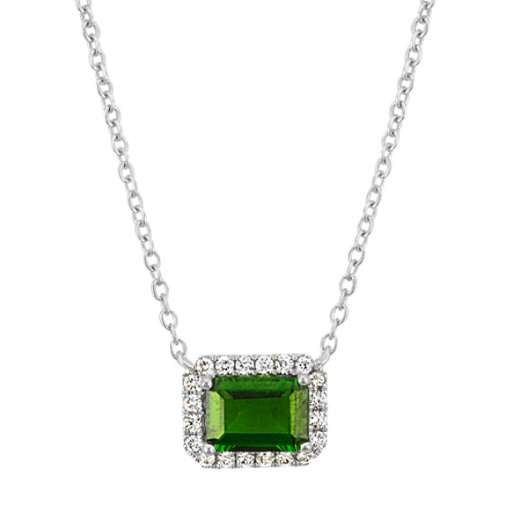 Emerald Cut Chrome Diopside and Diamond Necklace in Sterling Silver (18 in)