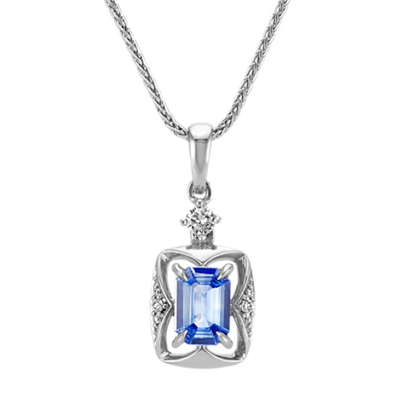 Emerald Cut Kentucky Blue Sapphire and Round Diamond Pendant (22 in)