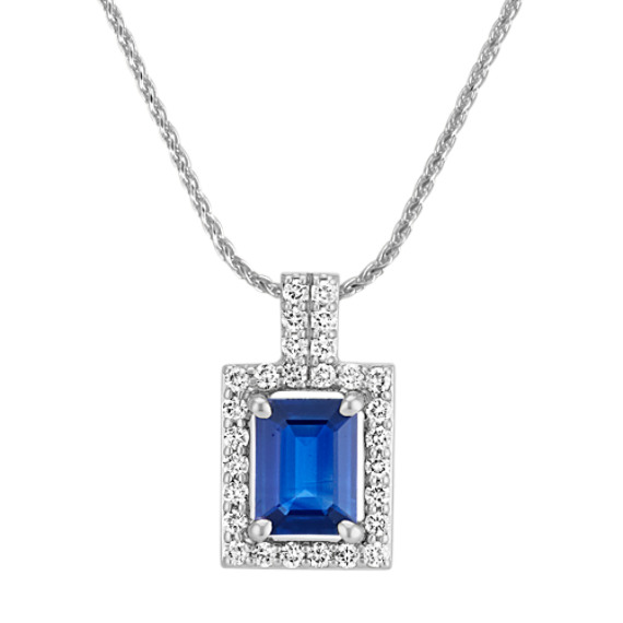 Emerald Cut Traditional Sapphire and Round Diamond Rectangle Pendant (22 in)