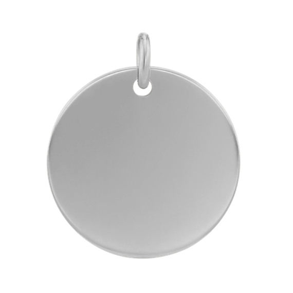 5/8 Inch Engravable Disk Charm in 14k White Gold