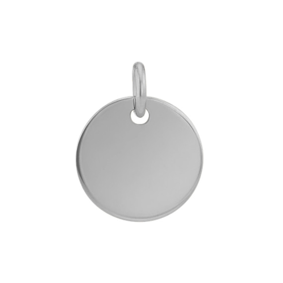 3/8 Inch Engravable Disk Charm in 14k White Gold