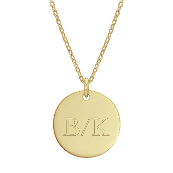 Engravable Disk Pendant in 14k Yellow Gold (18 in)