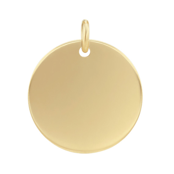 5/8 Inch Engravable Disk Charm in 14k Yellow Gold