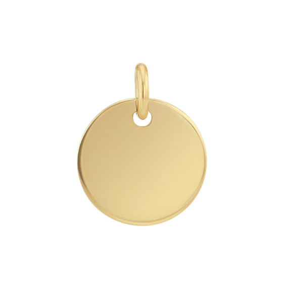 3/8 Inch Engravable Disk Charm in 14k Yellow Gold