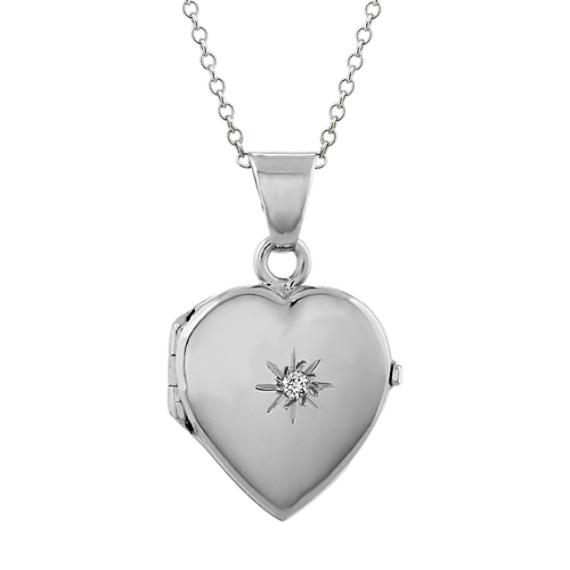 Engraveable Round Diamond Heart Locket (20 in)