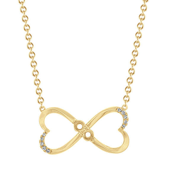 Family Collection Infinity Heart Necklace in 14k Yellow Gold (18 in)